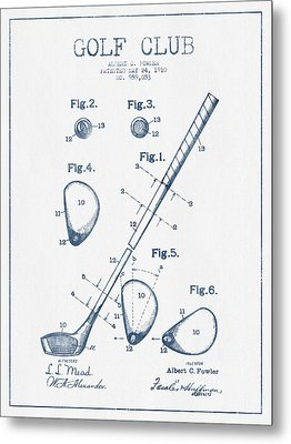 Golf Club Patent Drawing From 1910 - Blue Ink Metal Print