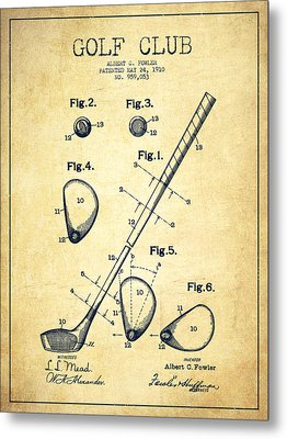 Golf Club Patent Drawing From 1910 - Vintage Metal Print by Aged Pixel
