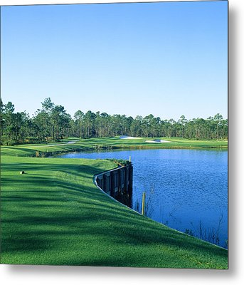 Golf Course At The Lakeside, Regatta Metal Print by Panoramic Images
