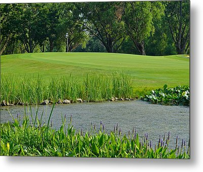 Golf Course Lay Up Metal Print by Frozen in Time Fine Art Photography
