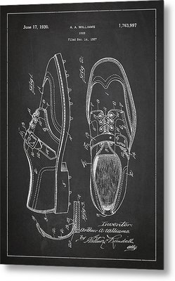 Golf Shoe Patent Drawing From 1927 Metal Print by Aged Pixel