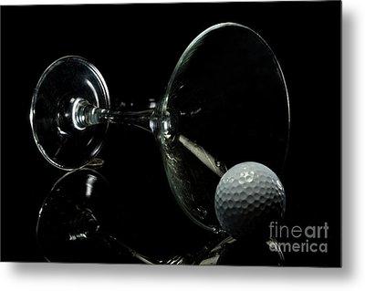 Golf Tini Golf Ball And Martini Glass Metal Print by Linda Matlow