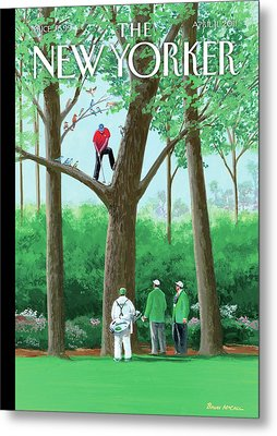 Golfer Making A Shot In A Tree While Different Metal Print