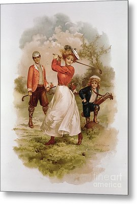 Golfing Metal Print by Ellen Hattie Clapsaddle