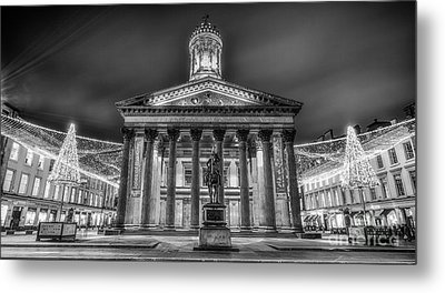 Goma Glasgow Lit Up Mono Metal Print by John Farnan