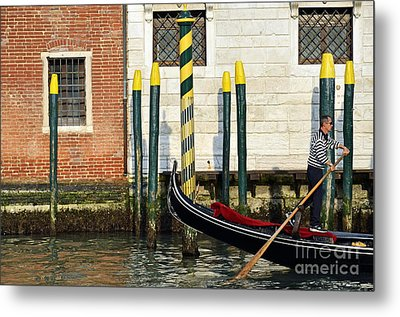 Gondola By Buildings On Grand Canal Metal Print by Sami Sarkis