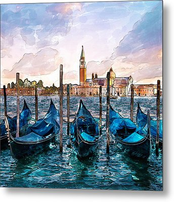 Gondolas In Venice Watercolor Metal Print