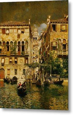 Gondolas Leaving A Residence On The Grand Canal Venice Metal Print by Rubens Santoro