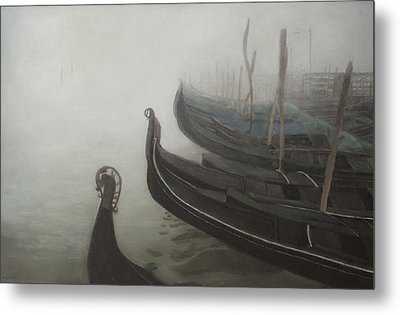 Gondolas Tied Up Metal Print