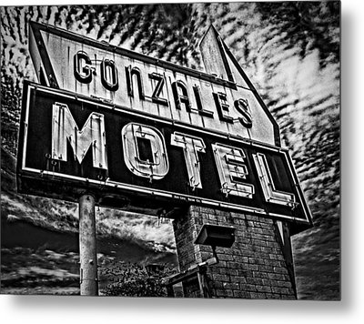 Metal Print featuring the photograph Gonzales Motel Sign by Andy Crawford