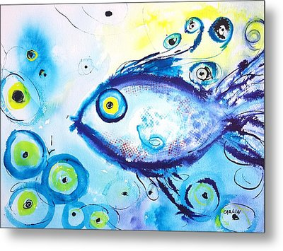 Good Luck Fish Abstract Metal Print by Carlin Blahnik