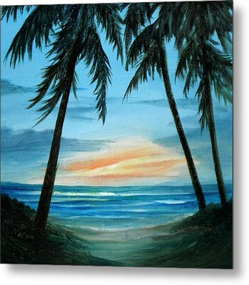 Good Morning Sunshine - Seascape Sunrise And Palm Trees By Rosie Brown Metal Print by Rosie Brown