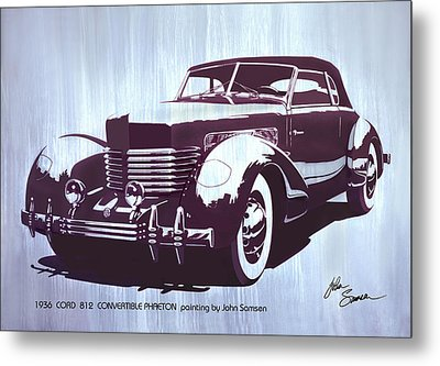 Gordon Buehrig's Dream Car  1936 Cord   Convertible Classic Automotive Art Sketch Rendering         Metal Print by John Samsen