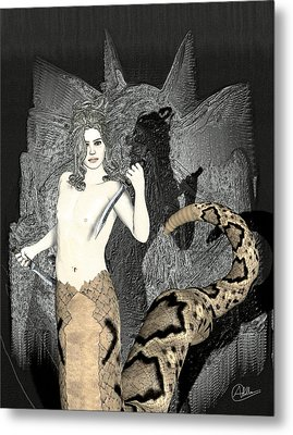 Male Medusa  Metal Print by Quim Abella