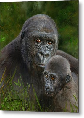 Gorilla And Baby Metal Print by David Stribbling
