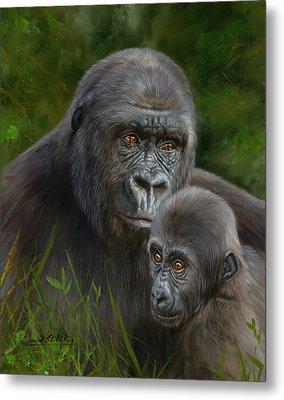 Gorilla And Baby Metal Print