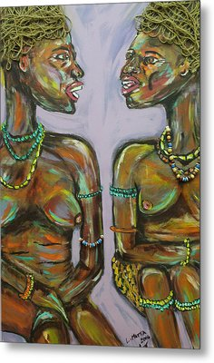 Metal Print featuring the painting Gossip by Lucy Matta