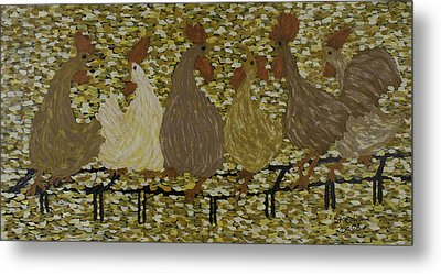 Gossiping Chickens Metal Print