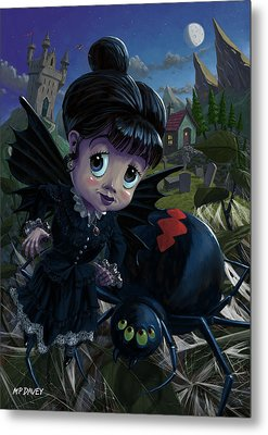 Goth Girl Fairy With Spider Widow Metal Print by Martin Davey