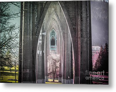 Gothic Arches Hands Folded In Prayer Metal Print by Patricia Babbitt