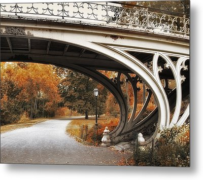 Gothic Bridge In Autumn Metal Print by Jessica Jenney