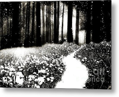 Gothic Dark Black White Surreal Woodlands Path Metal Print by Kathy Fornal