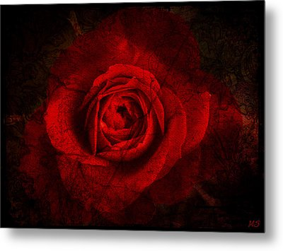 Gothic Red Rose Metal Print by Absinthe Art By Michelle LeAnn Scott