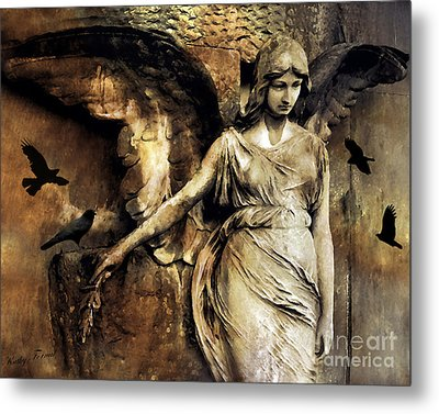 Gothic Surreal Dark Angel Art With Black Ravens Crows Gothic Gold Black Impressionistic Photography Metal Print by Kathy Fornal