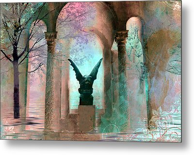 Gothic Surreal Fantasy Haunting Gargoyle Green Teal Nature Woodlands Forest Trees Metal Print by Kathy Fornal