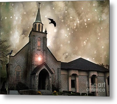 Gothic Surreal Haunted Church And Steeple With Crows And Ravens Flying  Metal Print by Kathy Fornal