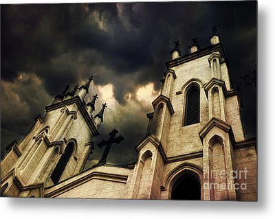 Gothic Surreal Haunting Church Steeple With Cross - Dark Gothic Church Black Spooky Midnight Sky Metal Print by Kathy Fornal