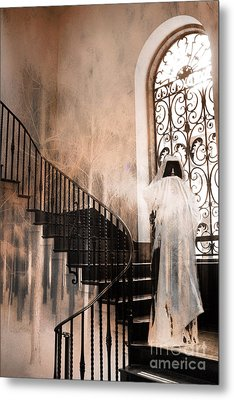 Gothic Surreal Spooky Grim Reaper On Steps Metal Print by Kathy Fornal