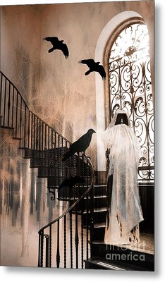 Gothic Grim Reaper With Ravens Crows - Spooky Haunting Surreal Gothic Art Metal Print by Kathy Fornal