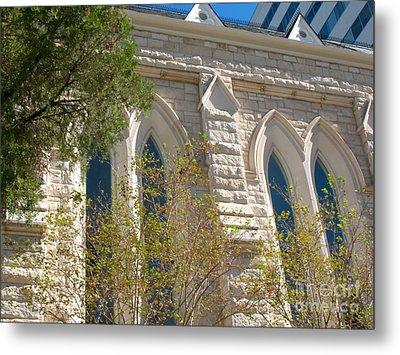 Gothic Windows - Austin Texas Church Metal Print by Connie Fox