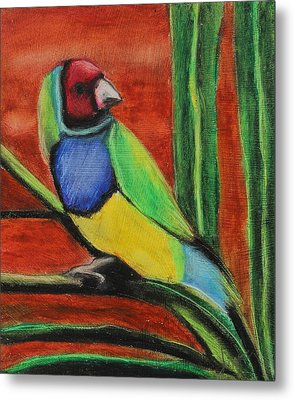 Metal Print featuring the painting Gouldian Finch by Jeanne Fischer