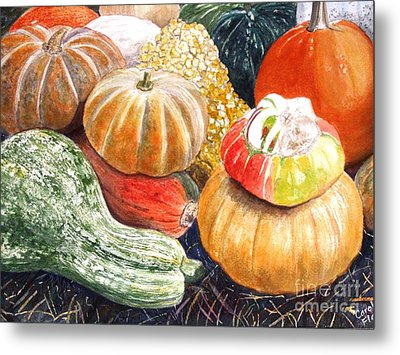 Metal Print featuring the painting Gourds by Carol Flagg