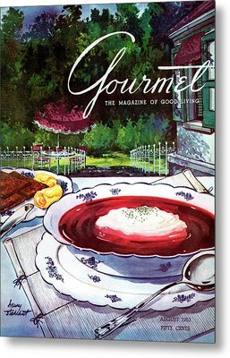 Gourmet Cover Featuring A Bowl Of Borsch Metal Print by Henry Stahlhut
