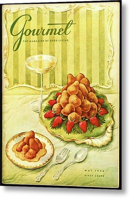 Gourmet Cover Featuring A Plate Of Beignets Metal Print by Hilary Knight