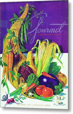 Gourmet Cover Of A Cornucopia Metal Print by Henry Stahlhut