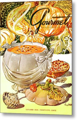 Gourmet Cover Of Pumpkin Soup Metal Print