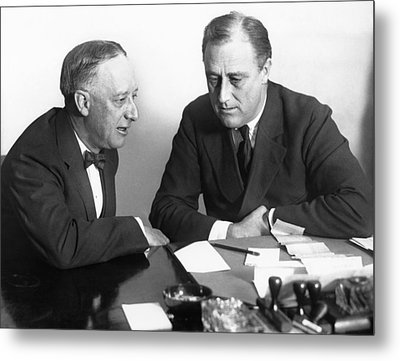 Gov. Al Smith And Roosevelt Metal Print by Underwood Archives