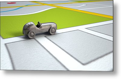 Gps Map With Metal Toy Car Metal Print by Allan Swart
