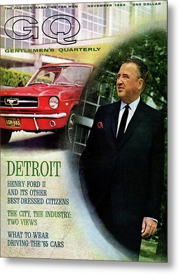Gq Cover Of Henry Ford II And 1965 Ford Mustang Metal Print