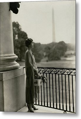 Grace Coolidge By The Washington Monument Metal Print by Nickolas Muray