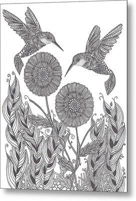 Graceful Humming Birds Metal Print