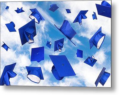 Graduation Caps In Flight Metal Print by Joe Belanger