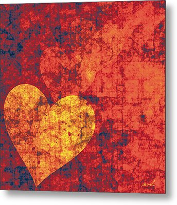 Metal Print featuring the painting Graffiti Hearts by The Art of Marsha Charlebois