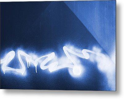 Graffiti Spray Blue Metal Print
