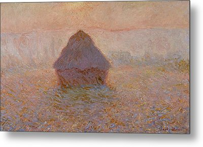 Grainstack  Sun In The Mist Metal Print by Claude Monet