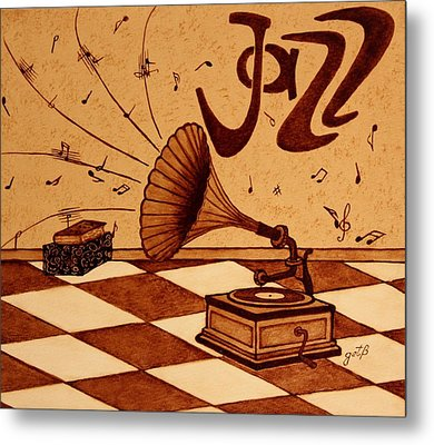 Gramophone Playing Jazz Music Painting With Coffee Metal Print by Georgeta  Blanaru